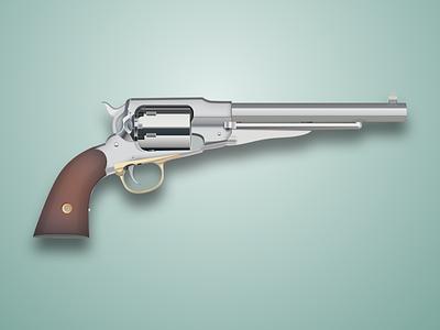 Gun visualisation silver reflections realistic weapon metal illustration pistol gun chrome revolver 3d