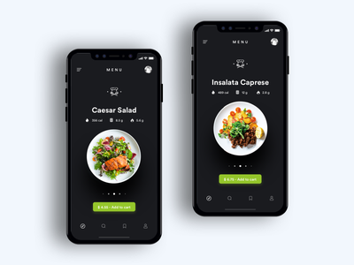 iPhone X - Food App clean iphonex restaurant mobile health eat typography black food design ui app