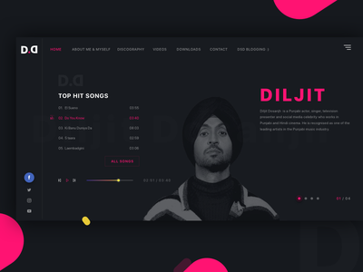 Music Website Concept - Diljit Dosanjh theme web ui typography site player music flat diljit black design clean