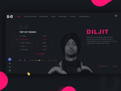 Music Website Concept - Diljit Dosanjh