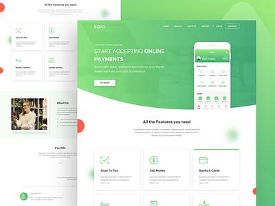 Payment App Landing Page website wallet payment concept web ux ui typography landing app flat design