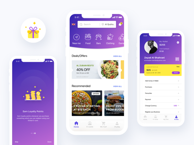 Deals App ux ui deals rewards earn visual bright points offers loyalty app illustration flat clean typography design