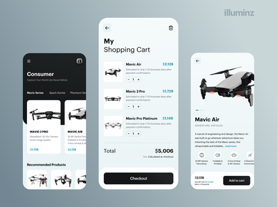 Drone Store App Concept dji iphone app drones cart mobile app design delivery app eccomerce technology user interface uiux interface drone mobile flat ux app clean typography design ui