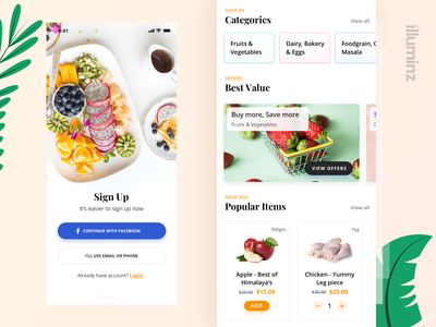 Grocery Shopping App Concept card book order food delivery color minimal delivery uiux concept ios grocery application app design mobile ux app clean typography design ui