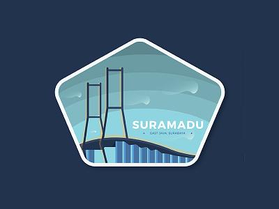 Suramadu National Bridge indonesia suramadu surabaya bridge vector logo illustrator icon flat design city bagde