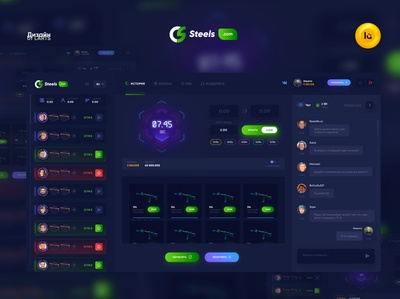 Crash Game CS:GO gradient website design ui ux guide gui minimal modern dark green blue game design games counterstrike csgo game crash