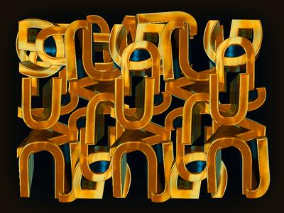 3D letter calligraphy Gold design gold letter calligraphy 3d