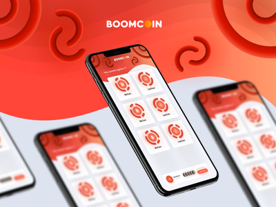 BOOMCOIN - Concept App Telegram channel transfer money product iphone 11 abstract fray white red coins money transfer design ux ui telegram app concept coin boom