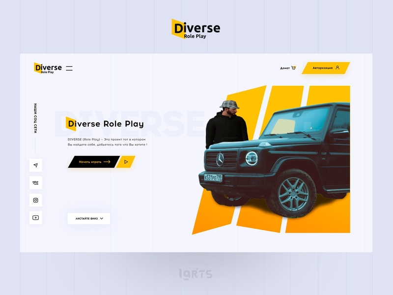 DIVERSE RP Gta Criminal Russian Server Game Project ux ui design gaming benz mersedes gray black yellow samp crmp server russian online game online gamer game gta