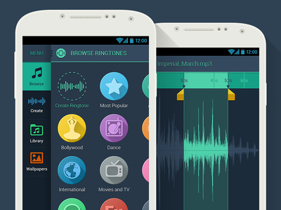 Free Ringtones (Android) interface experience user ui ux mobile design designer android app application flat
