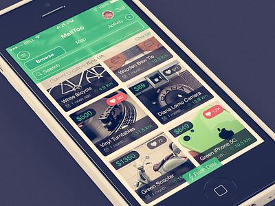 MellToo (iPhone, iOS 7) ui ux mobile designer iphone app application flat ios 7 browse grid