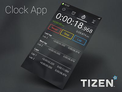 Clock App for Tizen OS ui ux mobile design designer tizen app application flat clock