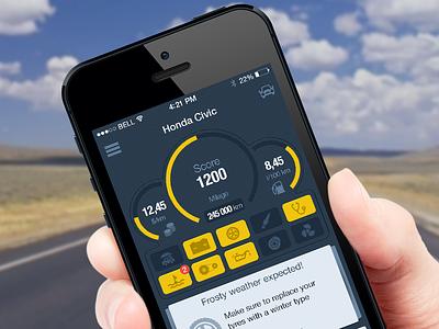 DriverNotes (iPhone) ui ux mobile designer iphone app application flat ios 7 car dashboard