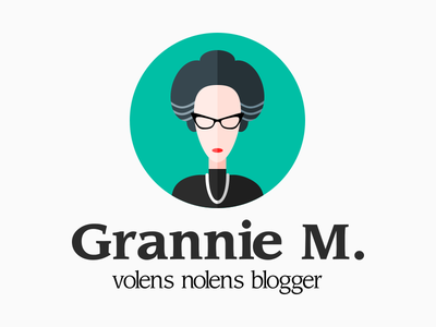 Grannie M. logo design icon flat identity logotype logo avatar profile blog blogger social character