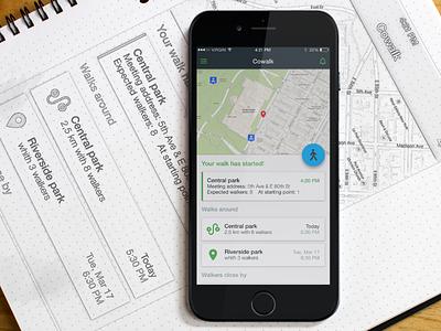 Cowalk App (iPhone) friends ukraine social network people walkers walk material design ios interface ios