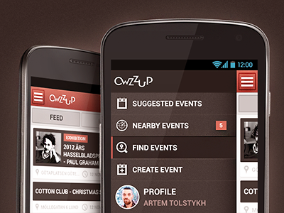 Owzzup (Android) android ui interface user android application android app android apps android design android designer ux ui designer experience navigation menu left menu android menu user interface event search button mobile
