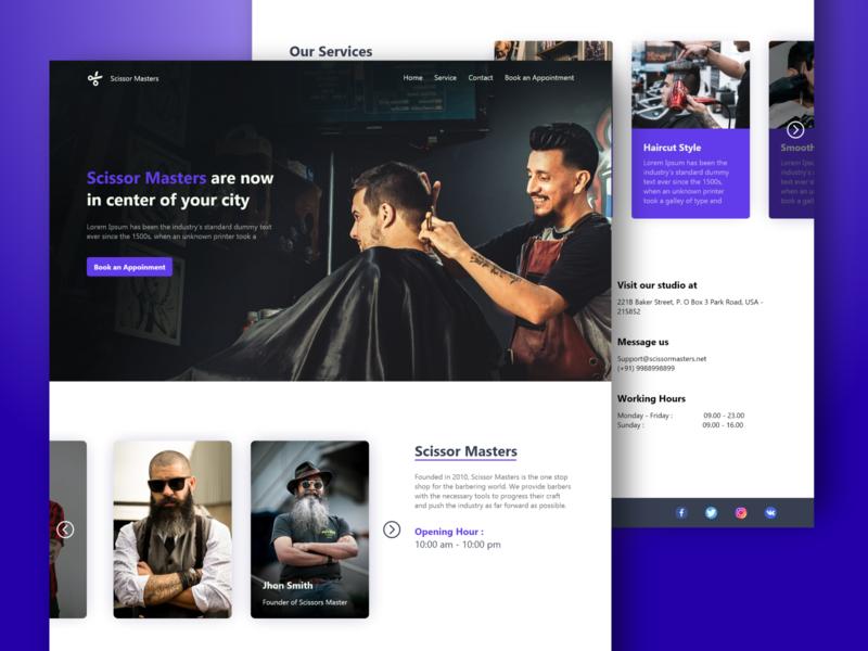 Scissor Masters concept barber master scissor salon barbershop ui
