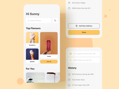 Ice Cream Flavors sunny-thecruze address icecream mobile app design ios uiux ui mobile app