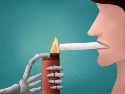 Smoking- (41/100 ) Daily Illustration Challenge cigarette lighter character skull ipad procreate illustration
