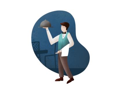 Waiter - (43/100 ) Daily Illustration Challenge procreate waiter ipad illustration