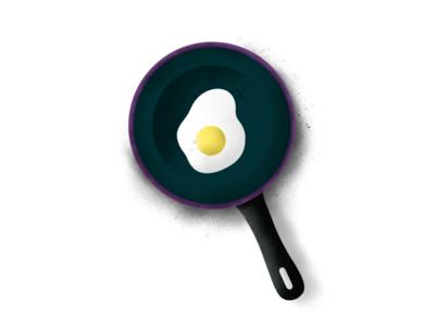 Fry Pan - (46/100 ) Daily Illustration Challenge pan egg ipad procreate illustration
