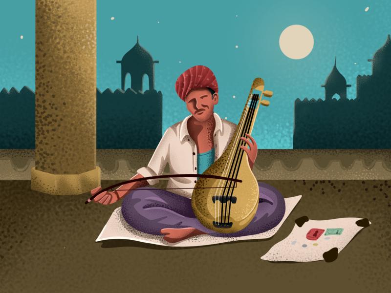 Rajasthan india sitar rajasthan apple pencil color sunny-thecruze brush design ipad procreate character illustration