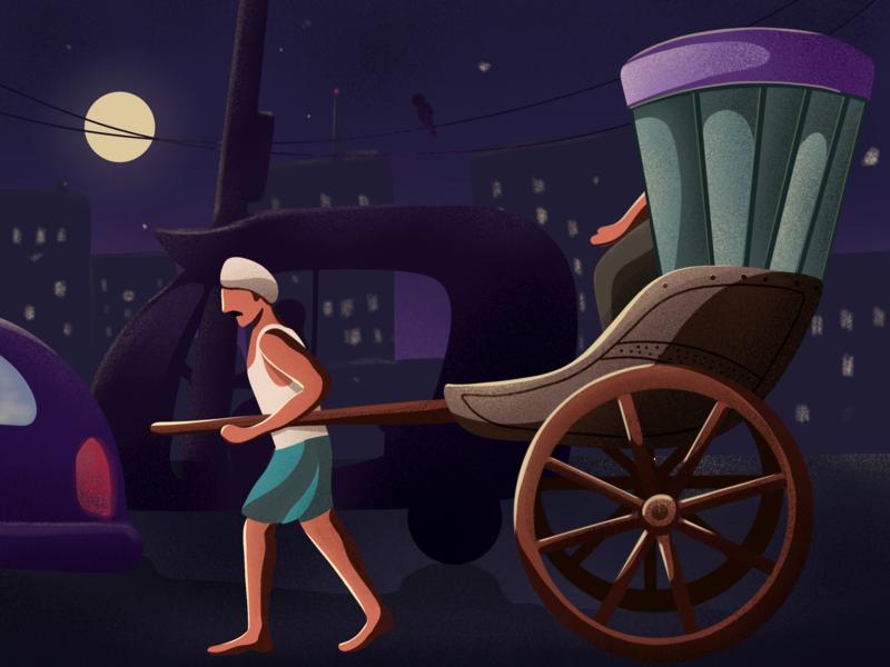 Rickshaw Puller character illustration