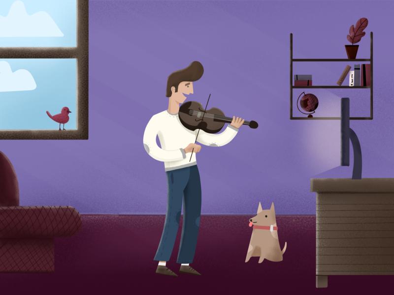 Violin Player character illustration