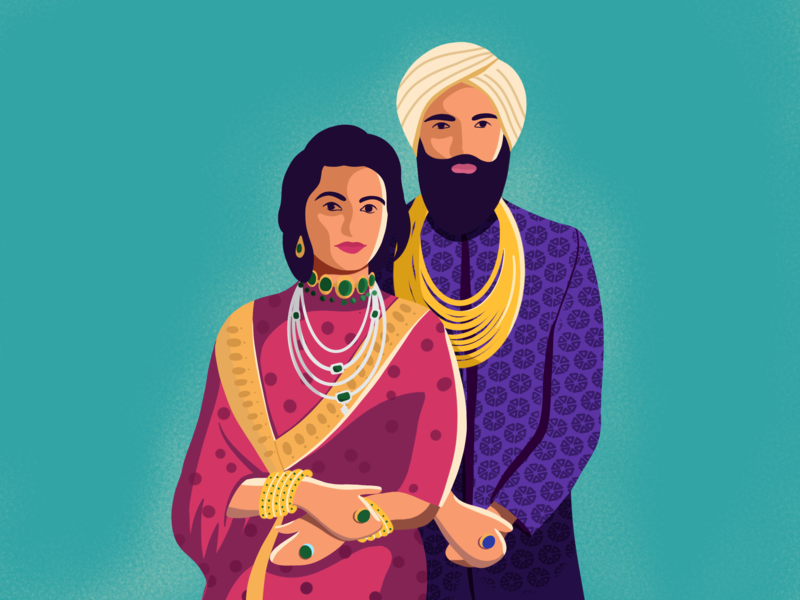 Royal Indian couple jewellery couple indian india royal color sunny-thecruze brush design character illustration