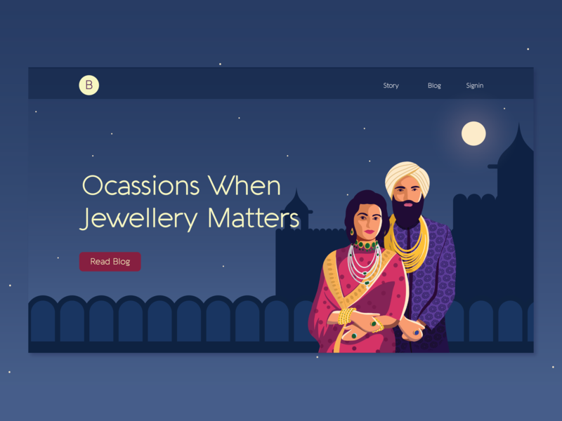 Jewelry Blog Landing Page moon indian india blog couple design landing page character illustration