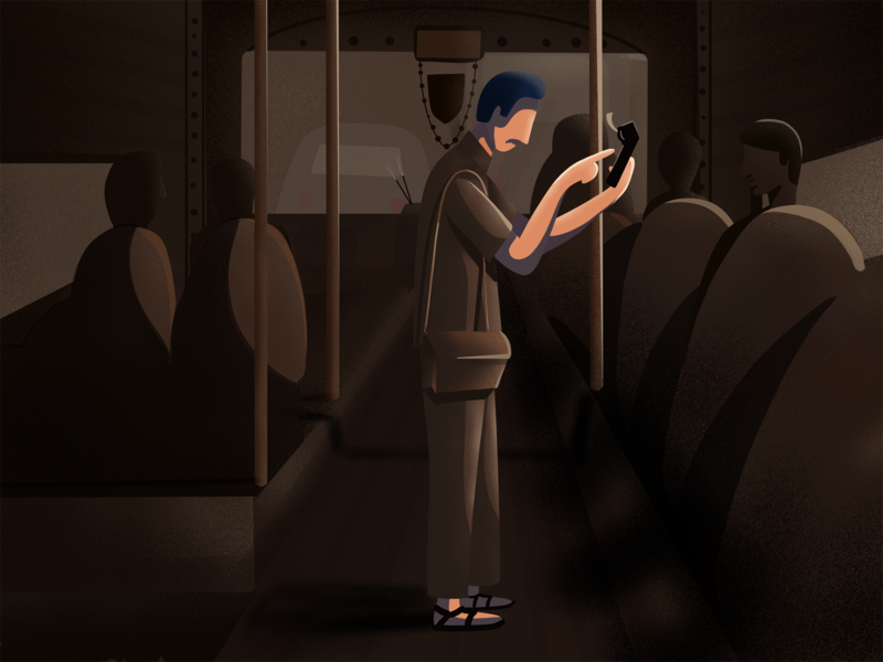 Ticket Ticket shades conductor bus sunny-thecruze brush design procreate character illustration