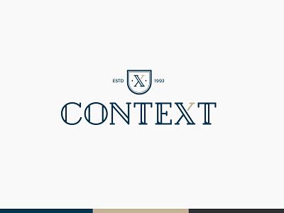 Context logo logotype shield letter x letter c