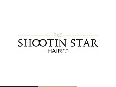 Shootin Star Hair Co. scissors tan logotype logo hair cut