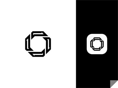 Black Octagon Logo symbol mark design experience arrow business minimalist simple logo icon app hexa octagon