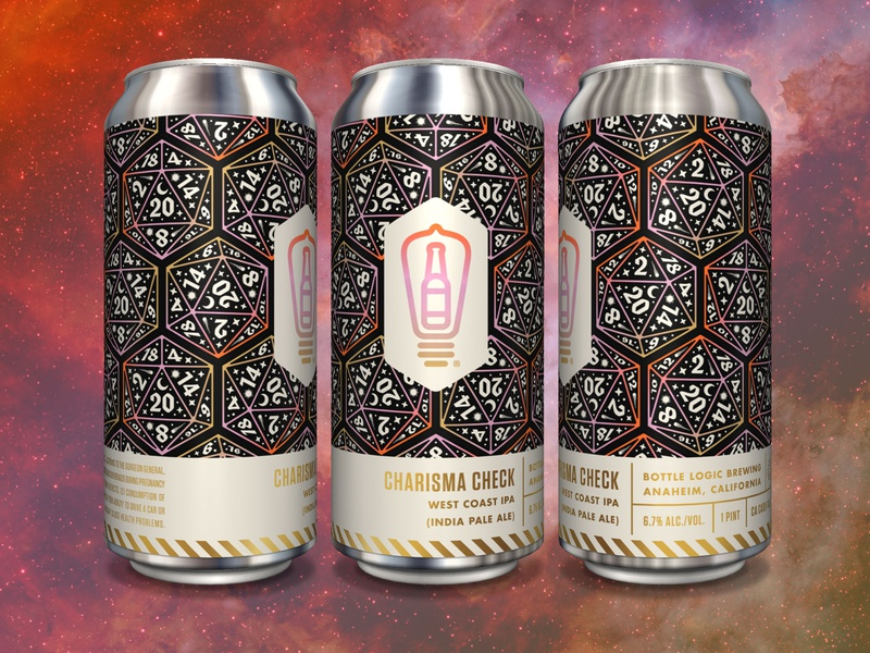 Bottle Logic Charisma Check Can d20 illustration packaging design craft beer