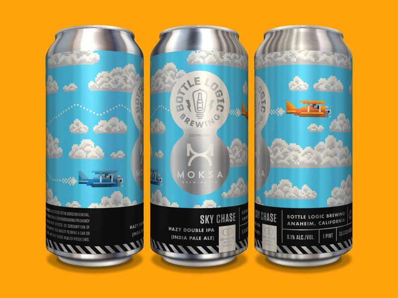 Bottle Logic Sky Chase Covalent Series Can 8-bit beer can design package design illustration craft beer