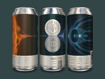 Bottle Logic Magnetotail Hoppy Lager Covalent Can space craft beer packaging design design illustration