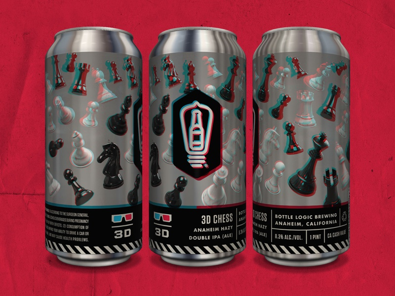 Bottle Logic 3-D Chess IPA beer can 3d art 3d design branding packaging design craft beer illustration