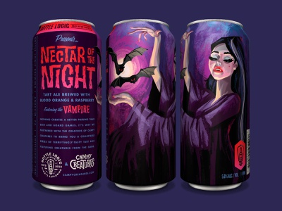 Bottle Logic Nectar of the Night campy creatures beer can print design print packaging design craft beer illustration