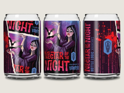 Bottle Logic Nectar of the Night Glass glassware vampire glass typography packaging design illustration