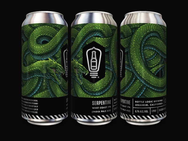 Bottle Logic Serpentine IPA Cans beer can basilisk serpent craft beer print packaging design illustration