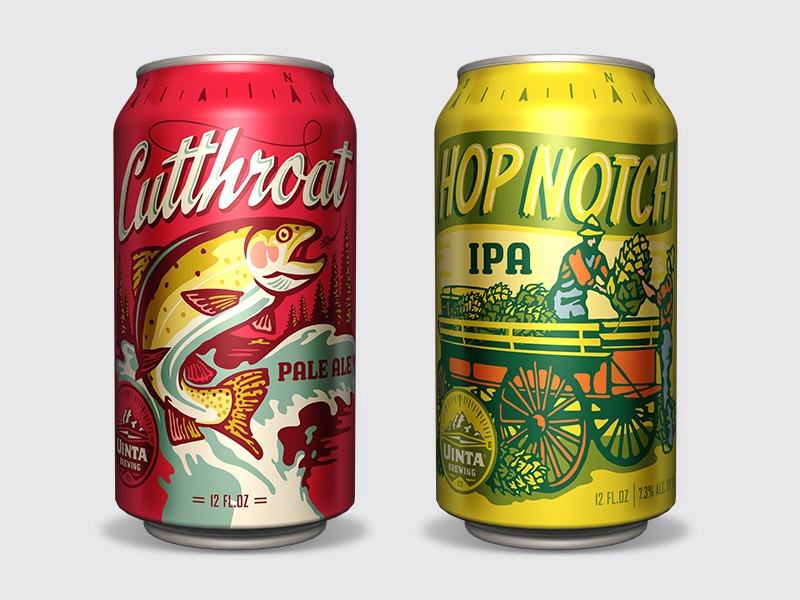 Uinta Classic Series Cans craft beer package design illustration