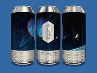 Bottle Logic Retrograde Orbit Hoppy Lager Cans satellite solar system triton neptune space voyager beer can design craft beer packaging design illustration