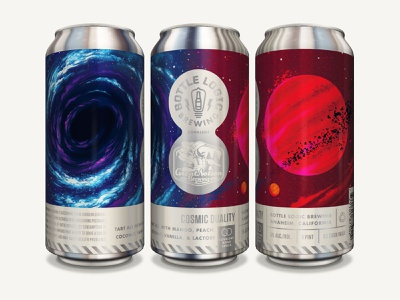 Bottle Logic Cosmic Duality Can Label & Illustration red giant black hole space package design packaging design craft beer illustration