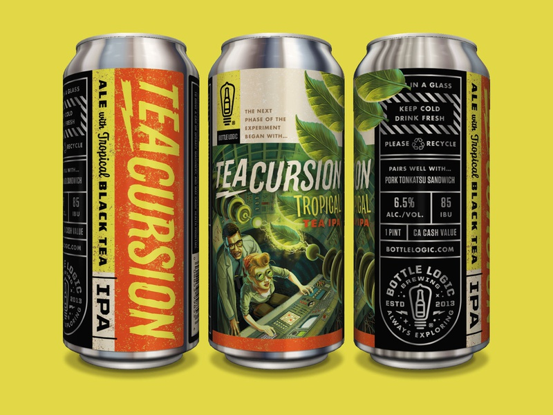 Bottle Logic Teacursion Tropical Tea IPA typography packaging design illustration