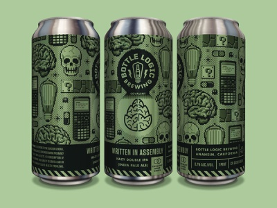 Bottle Logic Written in Assembly IPA Can 90s 8bit packaging design craft beer illustration