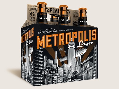 Speakeasy Metropolis Lager craft beer package design illustration