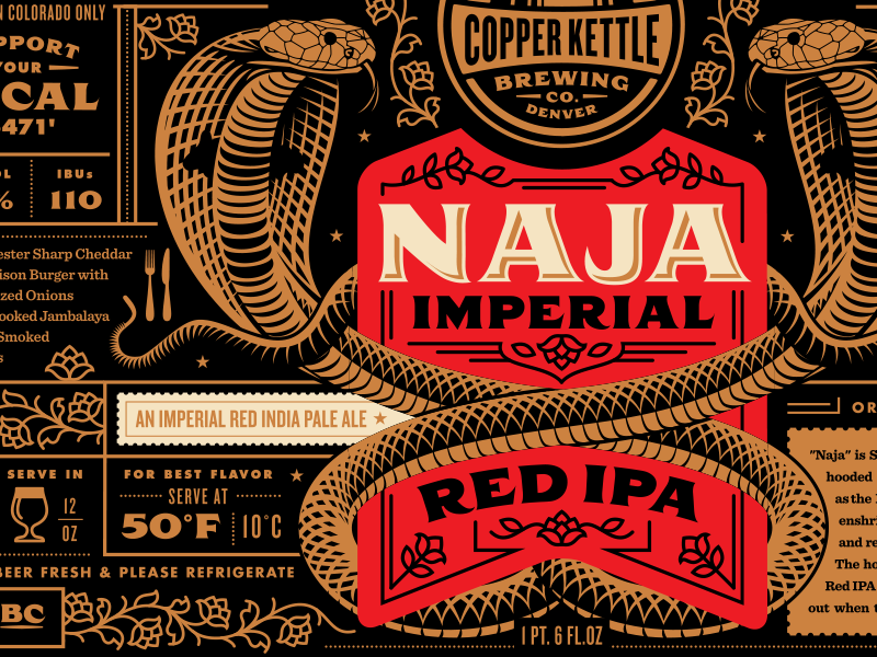 Naja imperial red ipa label