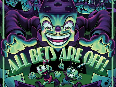 """Cuphead """"All Bets Are Off!"""" 3D Shadowbox by Artovision character 1930s boss bout boss battle king dice mugman videogame illustration"""