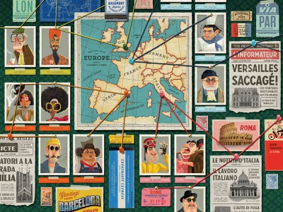 Caper Europe Conspiracy Map packaging design game art illustration